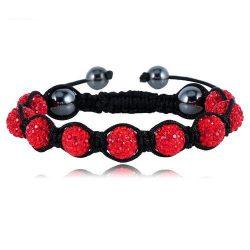 9 kristály gömbös shamballa karkötő - Piros