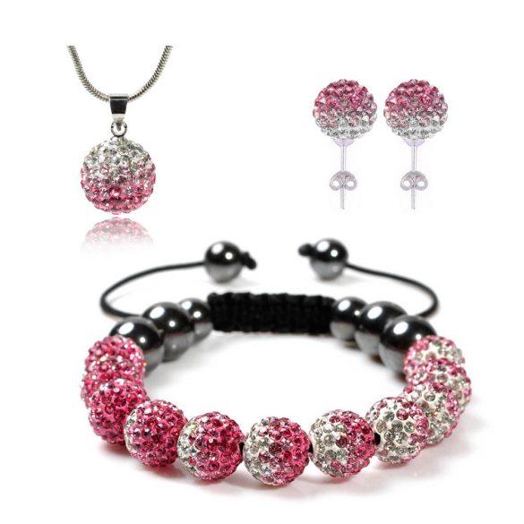 14 kristály gömbös shamballa szett - Pink/fehér