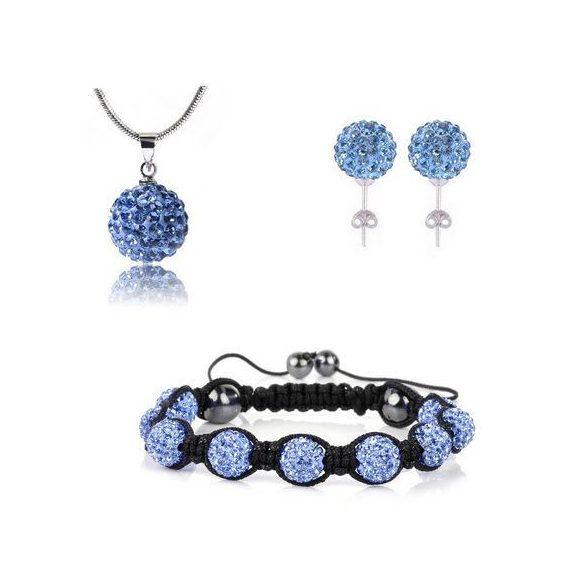 12 kristály gömbös shamballa szett - Kék