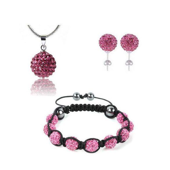 12 kristály gömbös shamballa szett - Pink