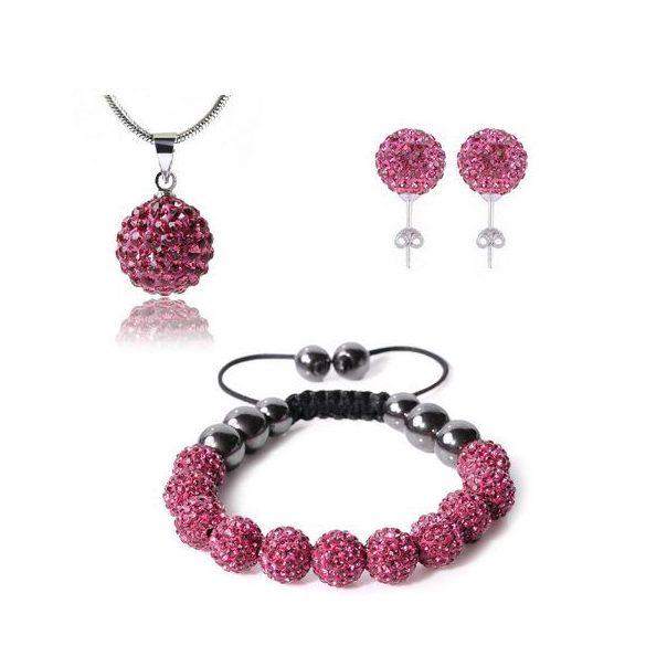 14 kristály gömbös shamballa szett - Pink