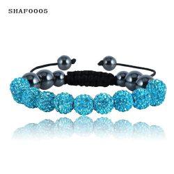 11 kristály gömbös shamballa karkötő - Kék