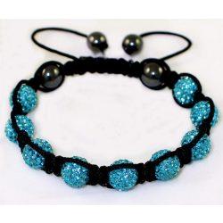 9 kristály gömbös shamballa karkötő - Kék