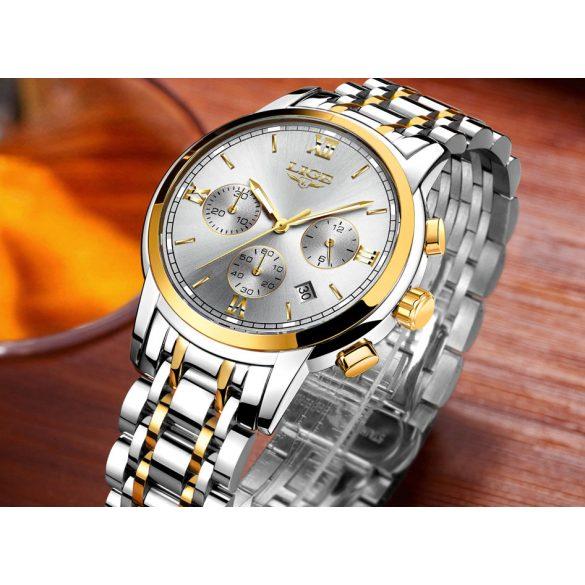 Lige fémszíjas férfi karóra dátum mutatóval - Ezüst arany